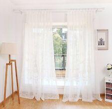 Voile Cortina Dormitorio Salón flores ojales Uni Crema Blanco 1 Pack