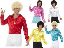 60s Disco Shirt Adults Groovy Satin Multi Mens Fancy Dress Top