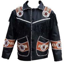 Mens Suede Leather Jacket Fringe Native American Western Style Cowboy Jacket