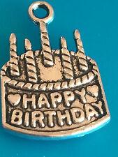 Happy birthday cake charms pendentifs tibétain argent antique 22 x 15mm