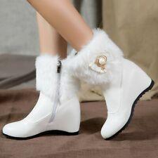 Womens Sweet Bowknot Snow Boots Hidden Wedge Heels Zipper Fur Lining Ankle Boots