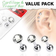 Value Pack of Assorted Gem Size Cartilage / Tragus Bars with Set Gem Tops