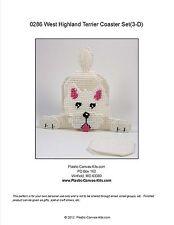 3-D West Highland Terrier-Westie Dog- Coaster Set-Plastic Canvas Pattern or Kit