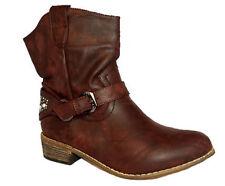 Damen Mädchen Winter Herbst Schuhe Stiefeletten Cowboystiefel Stiefel Braun