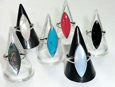 Navette Ring 925 Silber Rot Weiß Schwarz Hellblau + Abalone viele Größen Neu