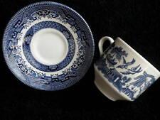 Churchill Tea Cup & Saucer Set x 3 Blue Willow Pattern Staffordshire UK