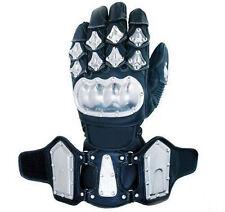 Motocicleta Moto Steel Pro nudillo de dedos y Vaca ocultar cuero guantes Negro
