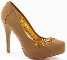 Taupe Brown Gold Velvet High Heel Almond Toe Platform Pump  Qupid System-270