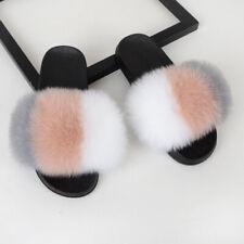 Femme fourrure tongs sandales mules claquettes chaussons pantoufles Fluffy Hive