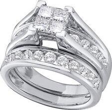 Ladies White/Yellow Gold Princess Cut Real Diamond Bridal Engagement Ring Set