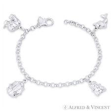 Elephant, Ladybug, Teddy Bear, Dolphin Charm .925 Sterling Silver Rolo Bracelet