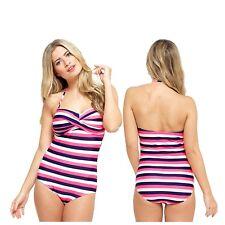 Ladies Pink White Stripe Swimming Costume Bathing Swimsuit One Piece