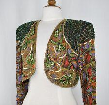 Jasdee Vintage Bolero Jacket Hand Work Bead & Sequin & Hand Print on Silk #5008