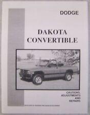 1989 1990 Dodge Dakota Convertible Repair Manual - New!