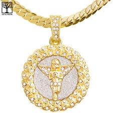 """Men's CZ Angel Medallion Pendant 20"""" / 24"""" Miami Cuban Chain Necklace MCP 121 G"""