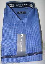 Camicia uomo classica azzurra quadri bianchi manica lunga art 07