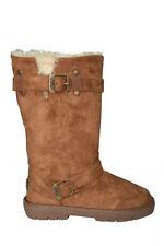 Ladies Womens Ella Harley Winter Snow Buckle Faux Sheepskin Lined Boots Chestnut