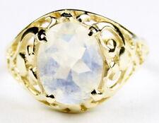 • R004-14, Rainbow Moonstone, 14k Yellow Gold Ladies Ring -Handmade