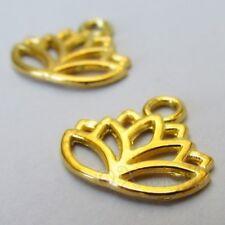 Lotus Flower 17mm Wholesale Gold Plated Charm Pendants C5867 - 10, 20 Or 50PCs