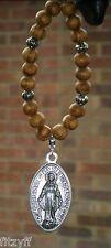 Voiture en bois perles en bois & vierge marie charme pendentif ovale sainte Mère de Jésus