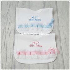 ☆ My 1st Birthday Bib Spanish Style Ribbon Lace & Bow Bib ☆