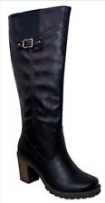 NIB Blossom Alpa-3 Women Tall Riding Boots On Chunky Heels With Plain Pu Upper