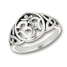 Celtic Weave Triquerta Ring Sizes 5-9 Sterling Silver .925 Om Ohm Aum