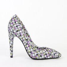 $820 New Bottega Veneta Women Green/Purple Leather Floral Heels 430540 8404