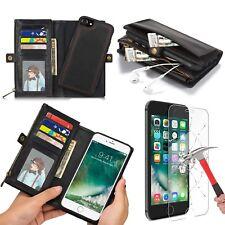Leather Wallet Case Credit Card Holder Zipper Wallet Pocket Purse iPhone X 8/7 +
