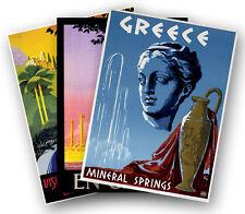 Set of Three (3) GREECE Travel Art Print Poster 1930's - 1950's GREEK Promo Ads