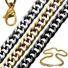 Collana Catena bracciale in acciaio corda uomo donna 4 6 8 10 12 mm nero argento