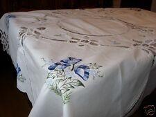 Handarbeit Tischdecke Bändchen mit blauer Stickerei rund und eckig 4 Größen Neu