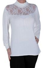 Womens Plain Polo Neck Long Sleeve Hip Length Lace Mesh Casual Blouse Tunic Top