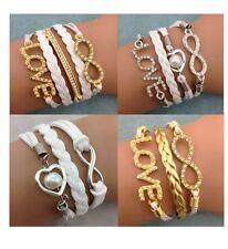 Infinity Bracelet White Gold Love Heart Bride Bridesmaid Wedding Bling Diamante