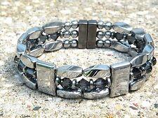 Men's Women's Silver Magnetic Healing Bracelet Anklet 3 Row w Graphite Swarovski
