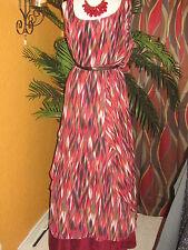 CALVIN KLEIN WOMAN NWT $159 TANGO orange black stripes maxi long women's dress