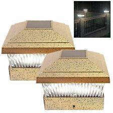 Solar Powered LED Deck Cap Post Light Bright White Fence Lights Outdoor Garden