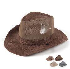 Men Wide Brim Sun Hats Bucket Jazz Gangster Beach Sunscreen Weave Gangster Cap