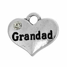 """4 5 10 ou 20 pcs silver tone strass """"grand-père"""" coeur charme mariage No136"""