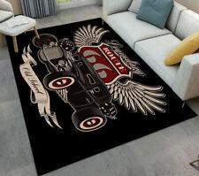 Vintage American Hot Rod Area Rugs Dark Background Route 66 Car Floor Carpet Mat