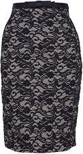 Tess 2-tone LACE Pin Up Spitzen Pencil Vintage Skirt / ROCK Schwarz Rockabilly