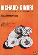 PUBBLICITA' 1939 RICHARD GINORI PIATTI ARTE  PORCELLANA CERAMICA L.VERONESI