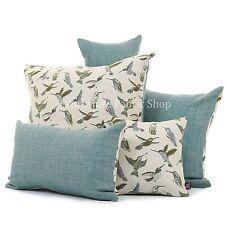 New Soft Woven Chenille Blue Green Small Hummingbird Bird Pattern Fabric Cushion