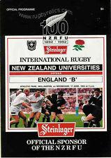 "NUOVA Zelanda università V INGHILTERRA ""B"" XVII luglio 1992 RUGBY PROG a Wellington"