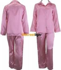 Pink & White Ladies Satin Pyjamas Silk Pj Winter Pajamas Full Length Sleepwear