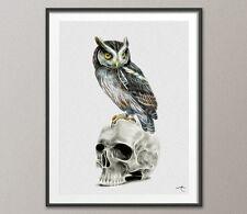 Owl, Skull, Anatomy, Painting, Print, Wall Decor, Gift idea, Wall Art, Skull Art
