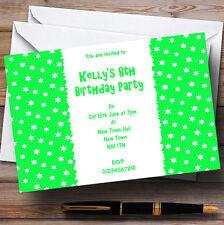 Green & White Stars personalizzata Children's Party invitations
