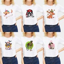 Cute Animal Dog Print T-shirt Women Basic Tee Polyester Crew Neck Soft Cozy Slim