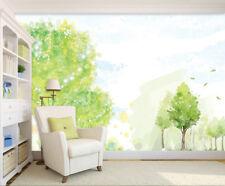 3D Green Trees Hand Painting Wall Paper Wall Print Decal Wall AJ WALLPAPER CA