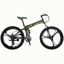 """26"""" Folding Mountain Bike Shimano 21 Speed Bicycle Full Suspension Disc Brakes"""